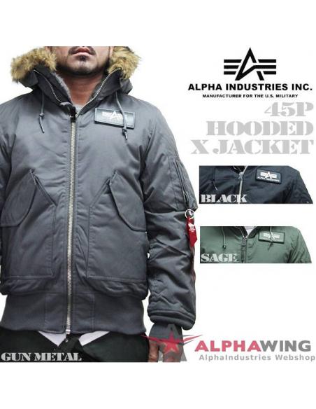 45 P Hooded replica grey kabát Alpha Industries